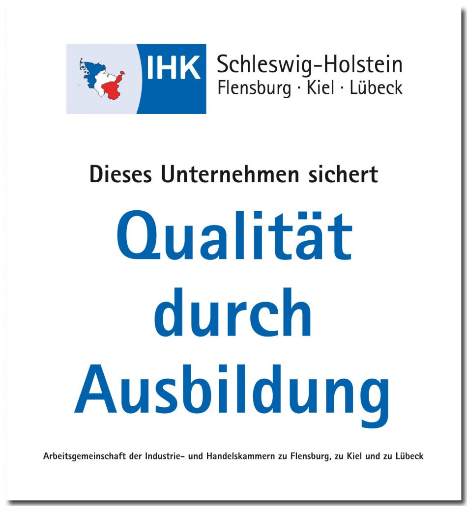 We are an apprenticing company certified by the German Chamber of Industry and Commerce (IHK)