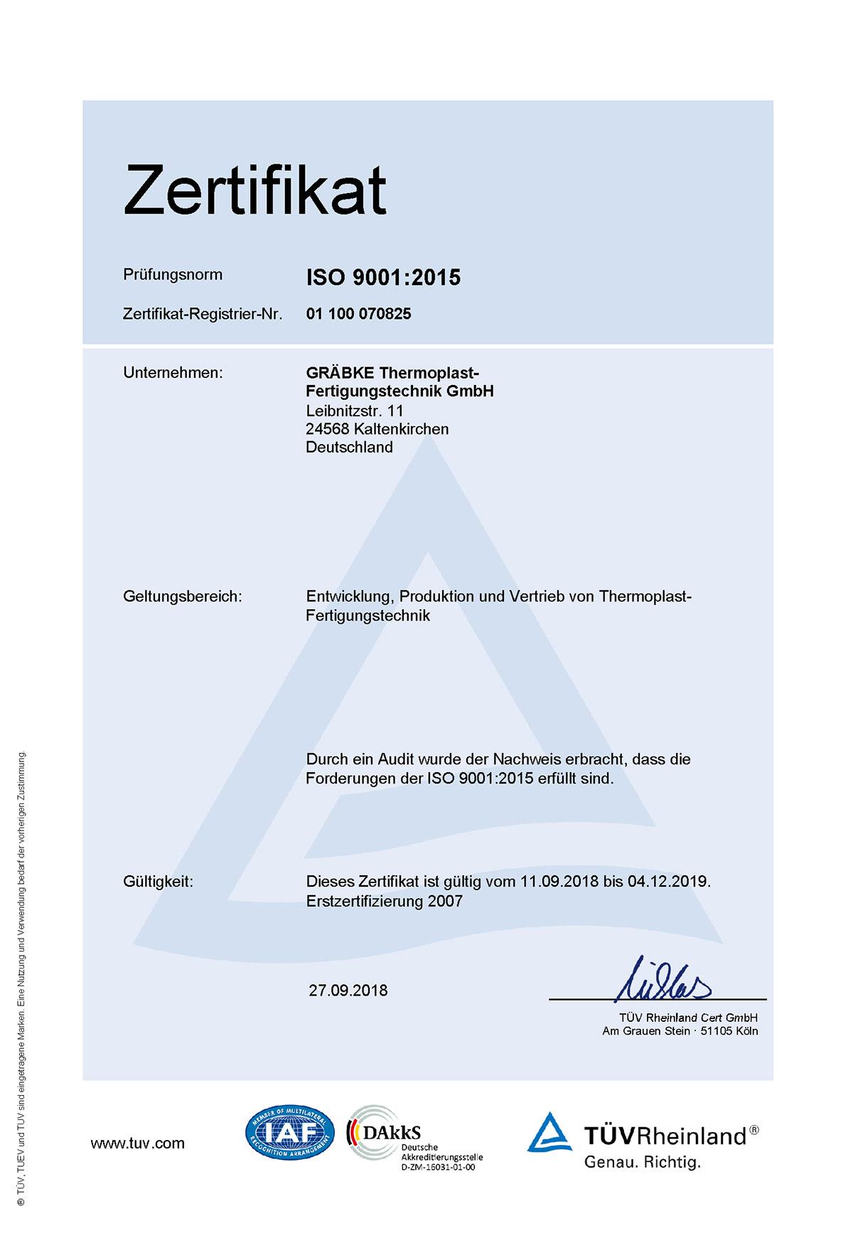 Gräbke Thermoplast-Fertigungstechnik – ISO-Zertifikat 9001:2015