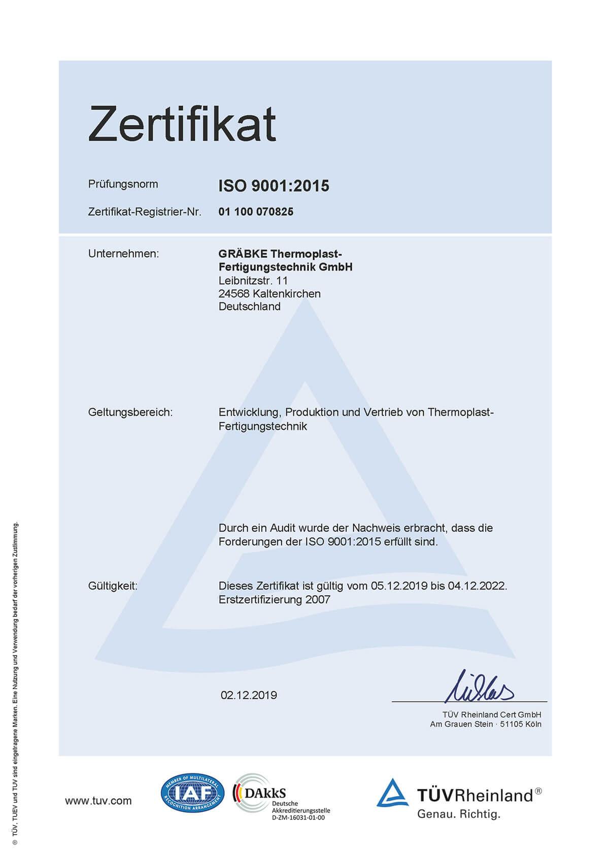 Gräbke Thermoplast-Fertigungstechnik – ISO-Zertifikat 9001:2015 gültig von Dez. 2019 bis Dez. 2022